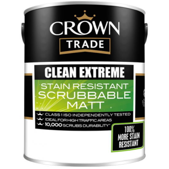 Crown Trade Clean Extreme Scrubbable Matt Paint White