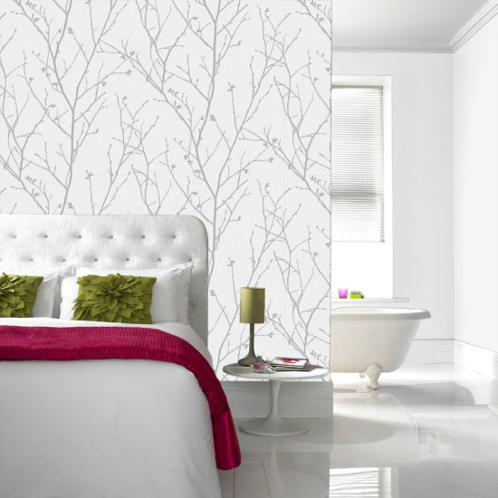 Graham and Brown Water Silk Sprig Wallpaper