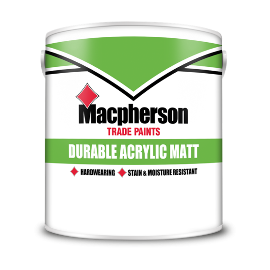 Macpherson Trade Durable Acrylic Matt Paint 2.5lt Colours