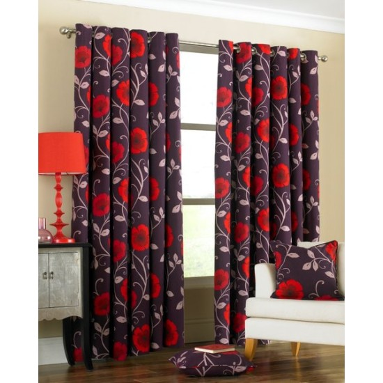 Riva Poppy Eyelet Curtains