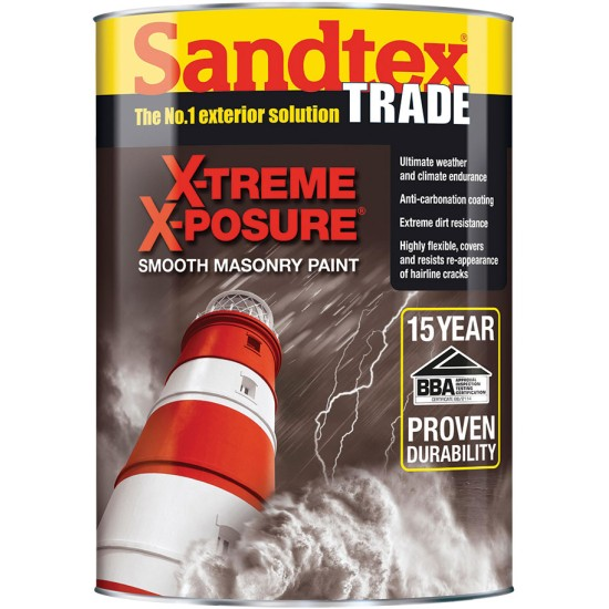 Sandtex Trade X-treme X-Posure Smooth Masonry Paint 5lt Colours